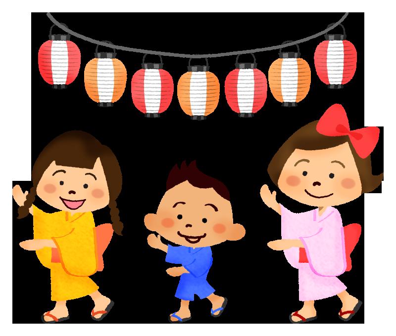 盆踊りを踊る子供の無料イラスト フリーイラスト素材集 ジャパクリップ