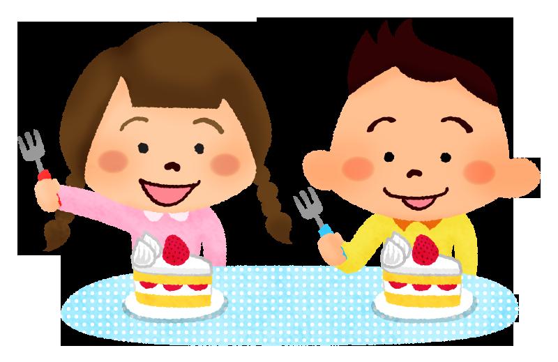 ケーキを食べる子供の無料イラスト   フリーイラスト素材集 ジャパクリップ