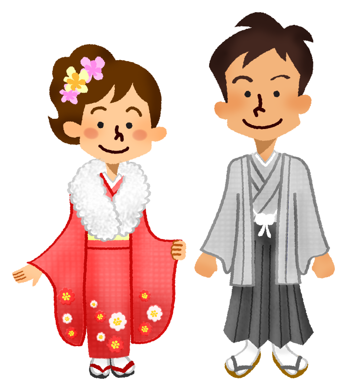 Couple in kimono for coming-of-age ceremony
