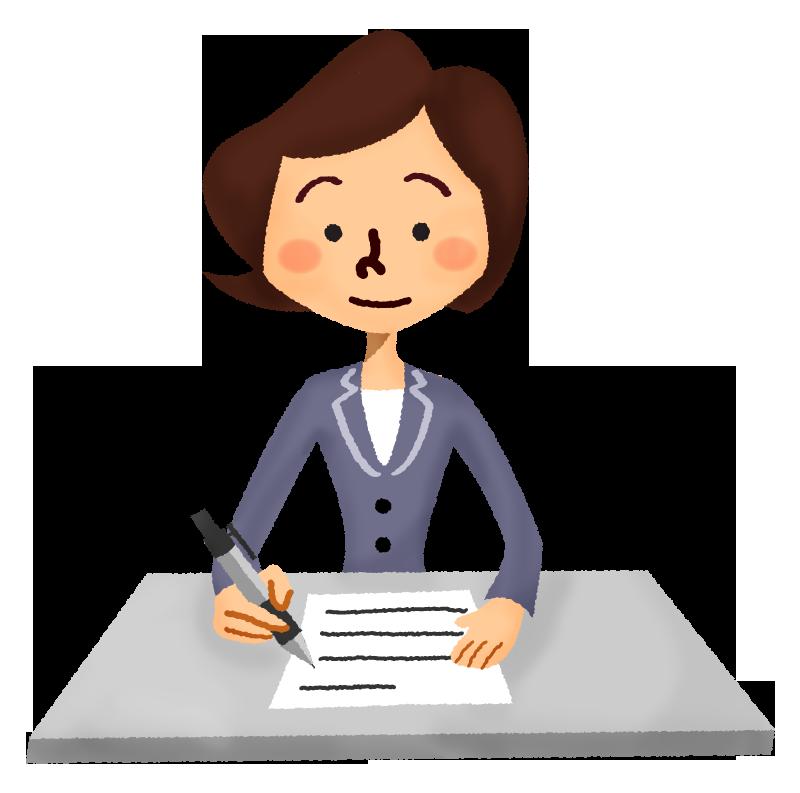 書類を書く女性会社員の無料イラスト フリーイラスト素材集 ジャパクリップ