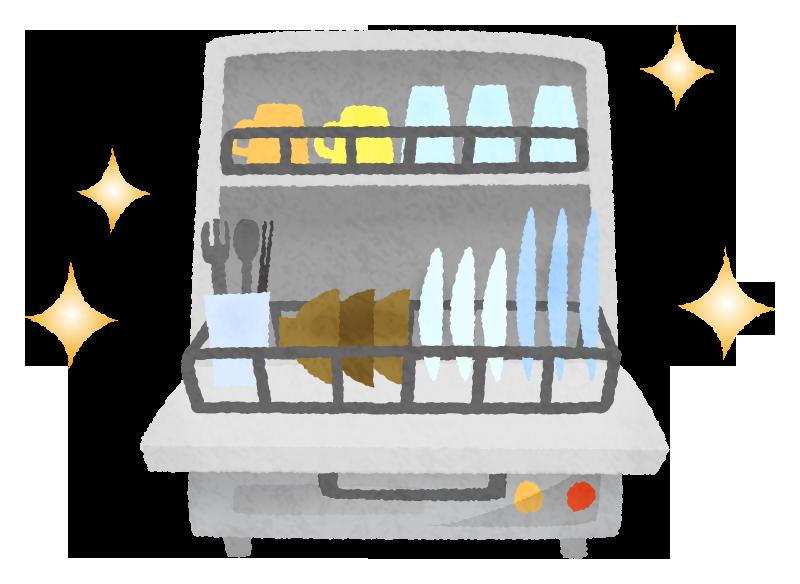 食洗器と綺麗な食器のかわいいフリーイラスト素材