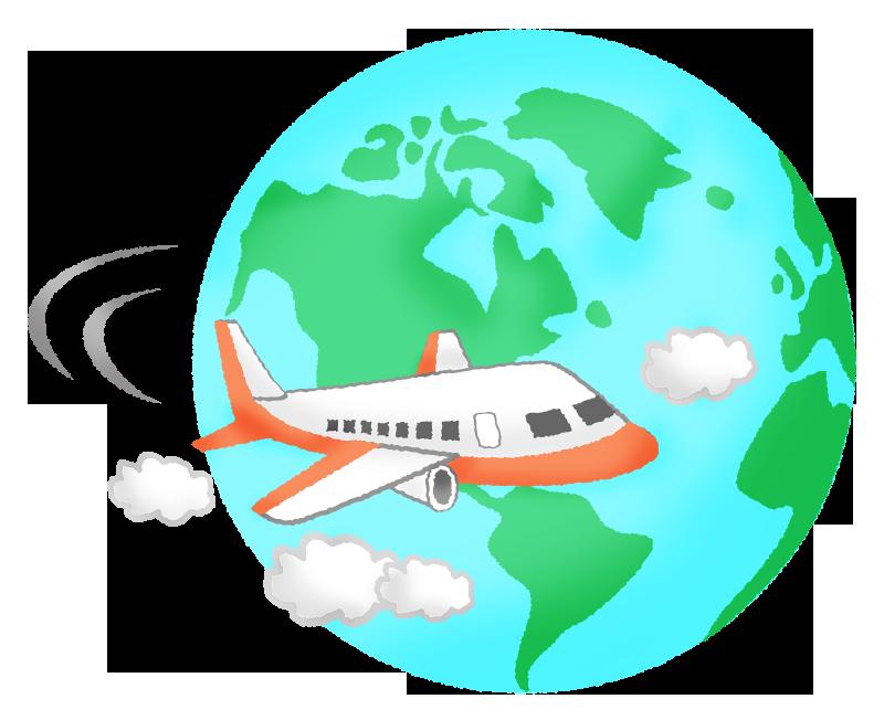 飛行機と地球の無料イラスト | フリーイラスト素材集 ジャパクリップ