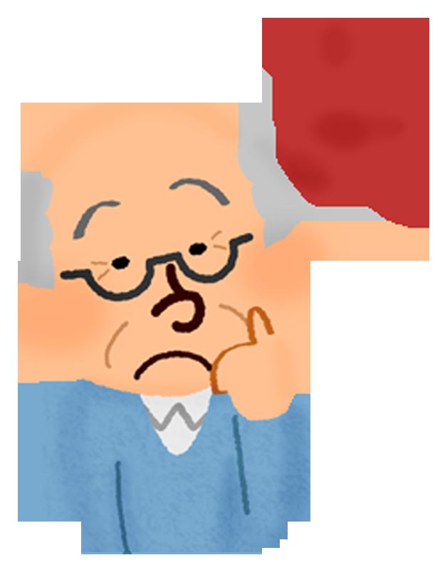 疑問を持つおじいさんの無料イラスト フリーイラスト素材集 ジャパクリップ