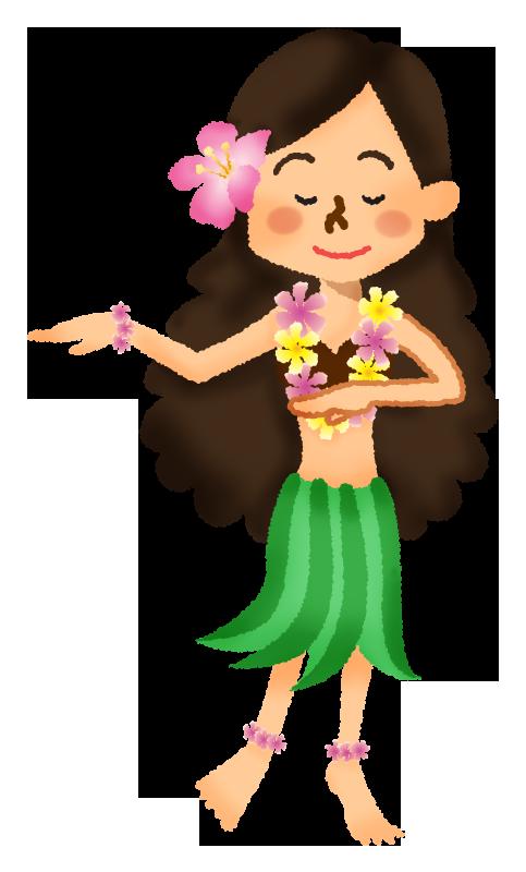 フラダンス踊る女性の無料イラスト フリーイラスト素材集 ジャパ