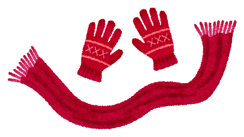 Knitted gloves and scarf