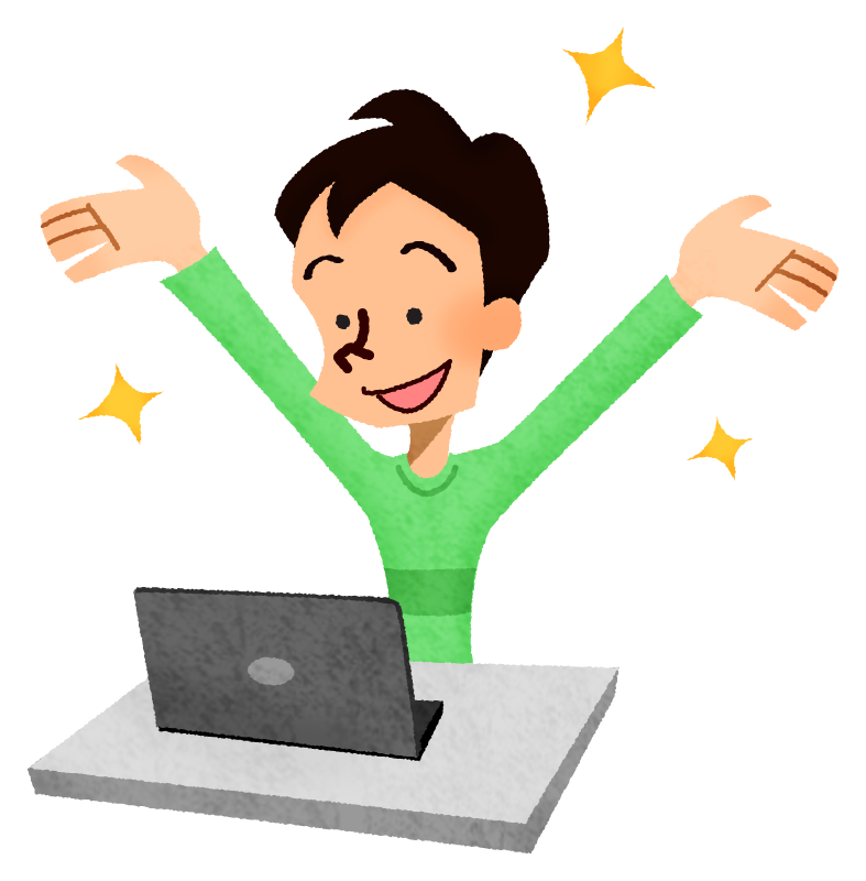 Happy man in front of laptop