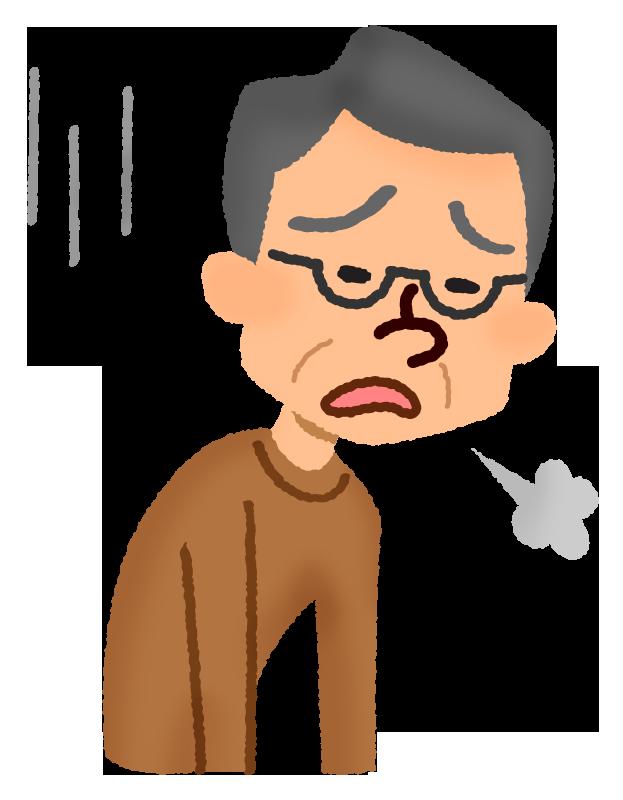 疲れた年配の男性の無料イラスト   フリーイラスト素材集 ジャパクリップ