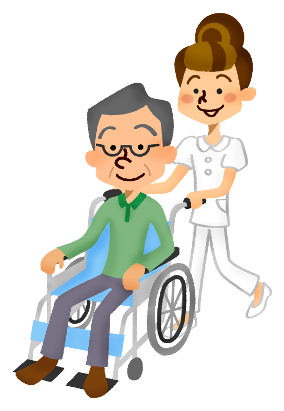 Senior man in wheelchair and care worker