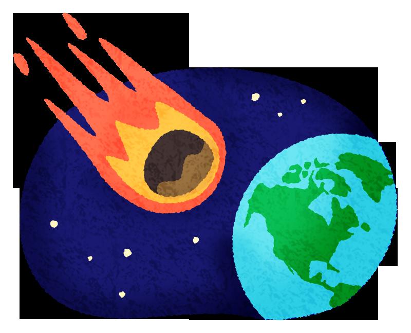 隕石と地球の無料イラスト フリーイラスト素材集 ジャパクリップ