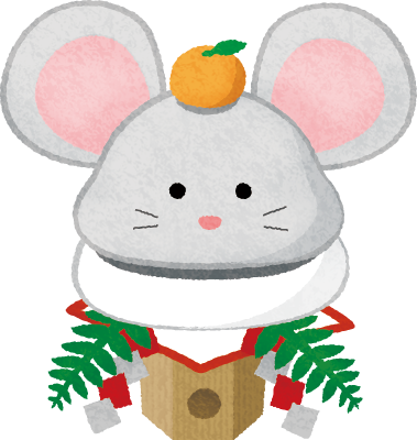 rat kagami mochi (New Year's illustration)