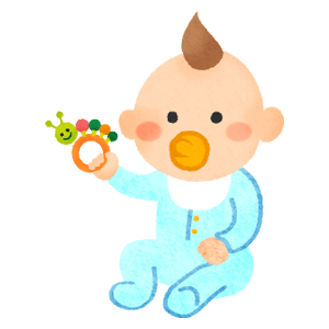 Baby holding toy bell