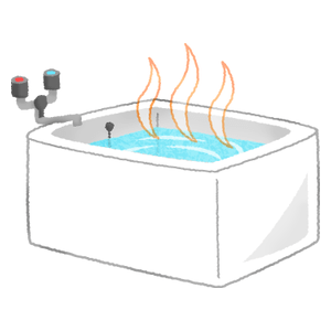 Bathtub filled with hot water