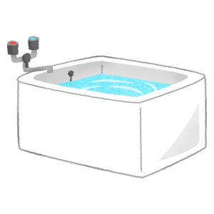 Bathtub filled with water
