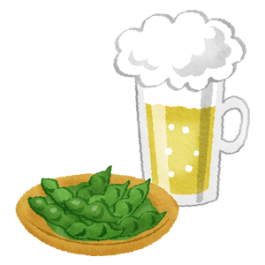 Edamame and draft beer
