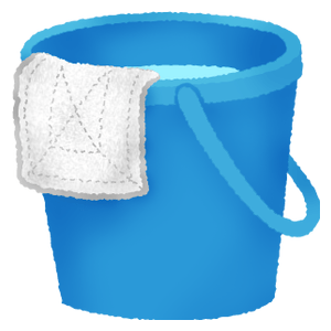 Bucket with cleaning-cloth