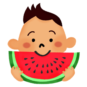 Little boy eating watermelon