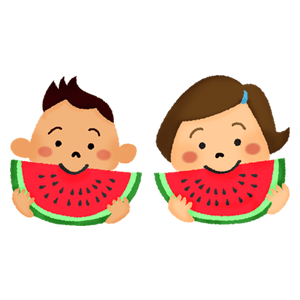 Little children eating watermelon