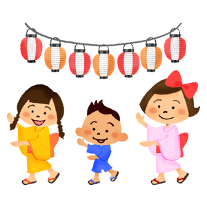 Children dancing at summer festival (bon odori)