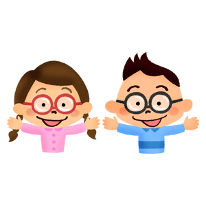 Smiling children with glasses