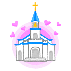 Church with hearts