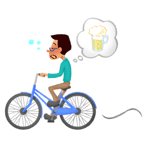 Drunk man riding bicycle