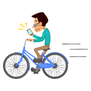 Man looking at the cell phone while riding a bike