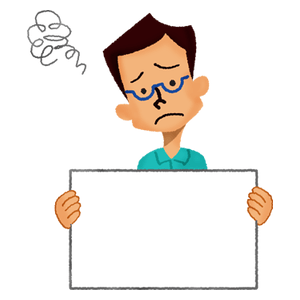 Worried man holding signboard