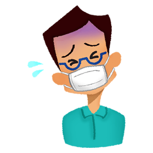 Sick man wearing surgical mask