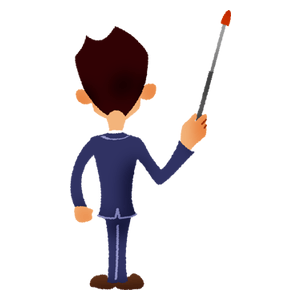 Back view of businessman holding a pointing stick