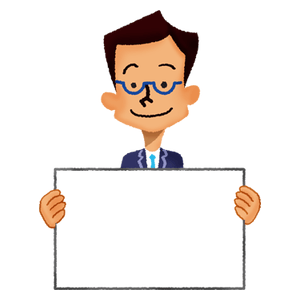 Businessman holding signboard