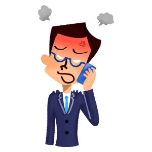 Angry businessman talking on cell phone