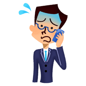 Panicked businessman talking on cell phone