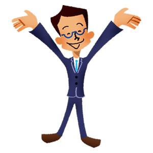 Very happy businessman rasing hands