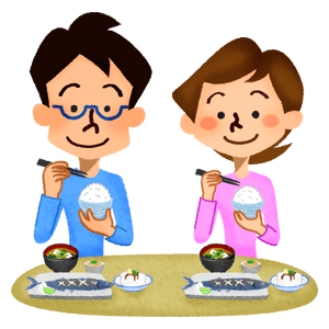 Couple eating