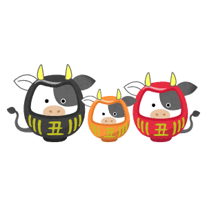 cow daruma couple and child (New Year's illustration)