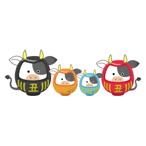 Cow daruma couple and children (New Year's illustration)
