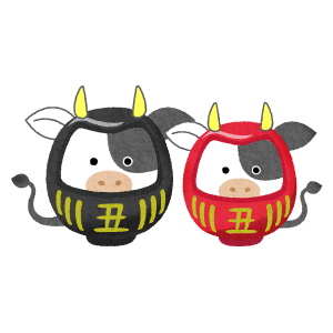 cow daruma couple (New Year's illustration)