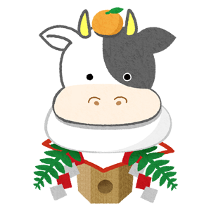 cow kagami mochi (New Year's illustration)