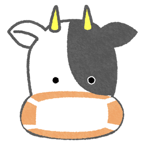 cow wearing surgical mask