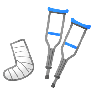 Crutches and cast