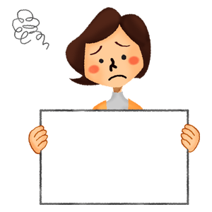 Worried woman holding signboard
