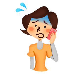 Panicked woman talking on cell phone