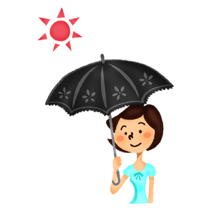 Woman with black UV umbrella