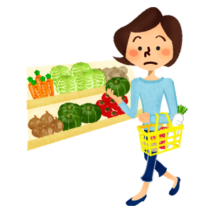 Woman shopping vegetables at supermarket