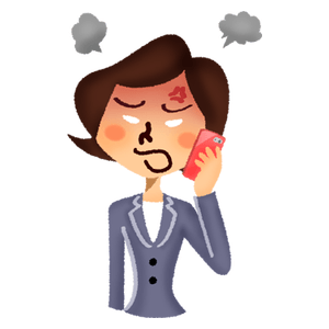 Angry businesswoman talking on cell phone