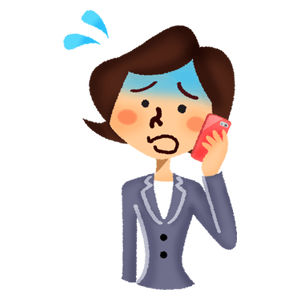 Panicked businesswoman talking on cell phone