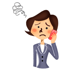Annoyed businesswoman talking on cell phone
