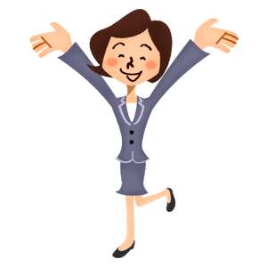 Very happy businesswoman rasing hands