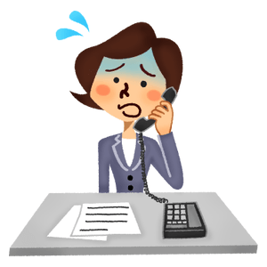 Panicked businesswoman talking on the phone