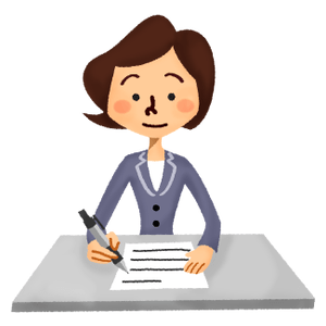 Businesswoman writing document